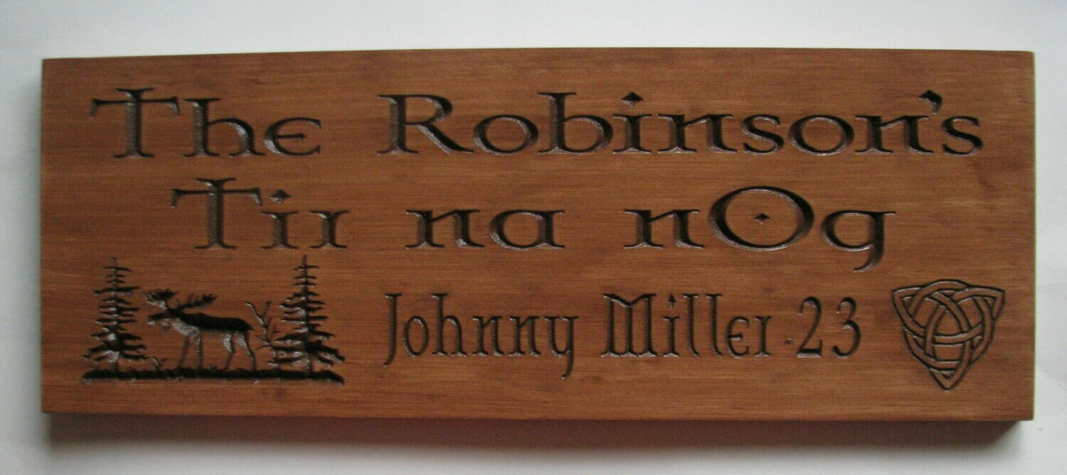 Personalized Celtic Style Rustic Stained Outdoor Wood Sign