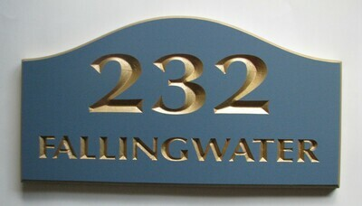Custom Painted Wood House Number Sign
