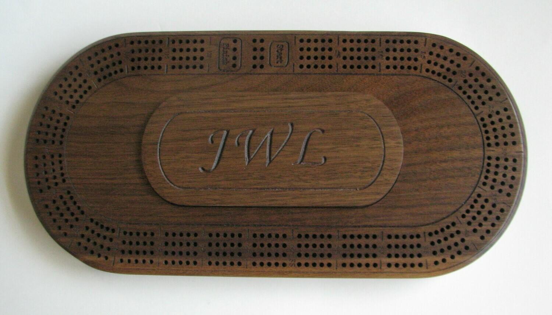 Personalized Oval Walnut Wood 4 Track Cribbage Board