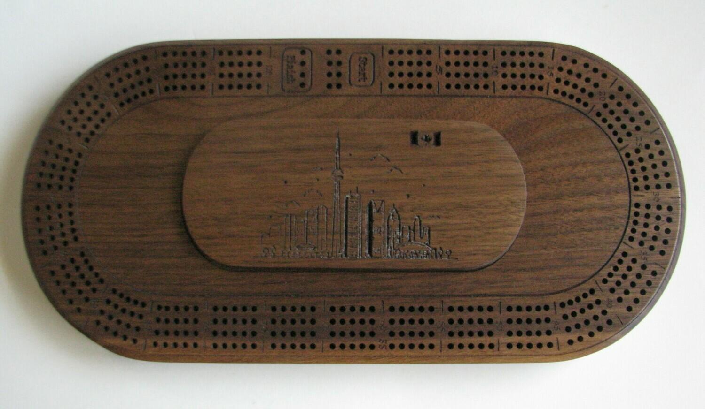 Oval Walnut Wood 4 Track Cribbage Board with Toronto Skyline