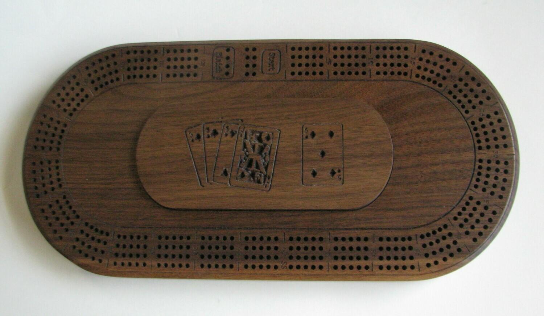 Oval Walnut Wood 4 Track Cribbage Board