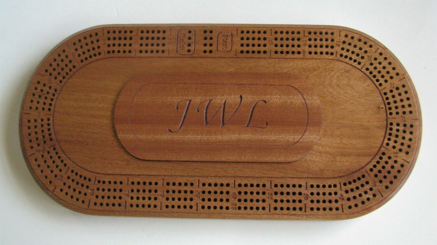 Personalized OvalAfrican Mahogany (Sapele) Wood 4 Track Cribbage Board
