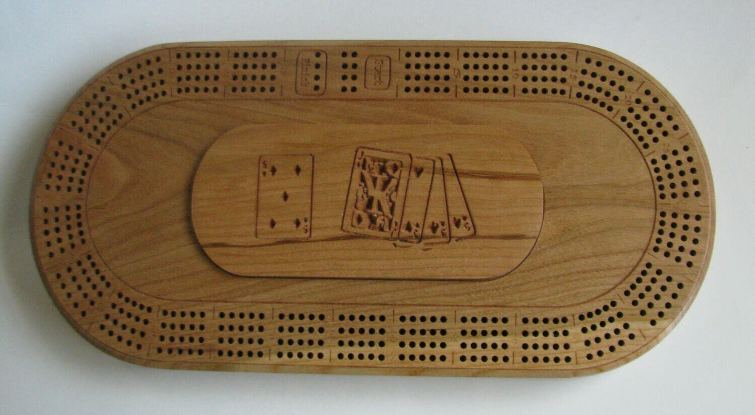 Oval Cherry Wood 4 Track Cribbage Board