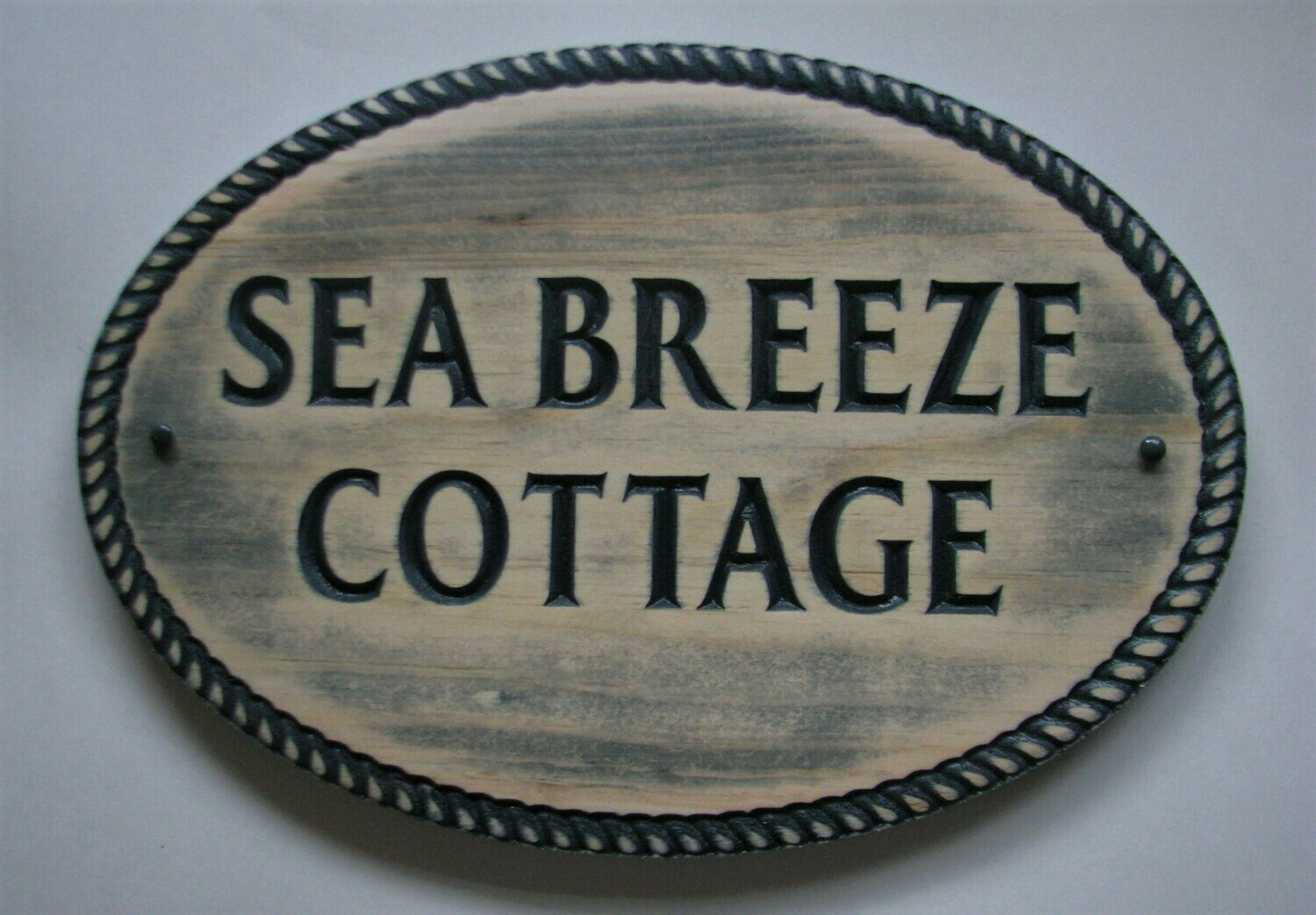 Custom Personalized Wood Sign Rustic Distressed Look Nautical Style House Sign Cottage Sign with Carved Rope Border