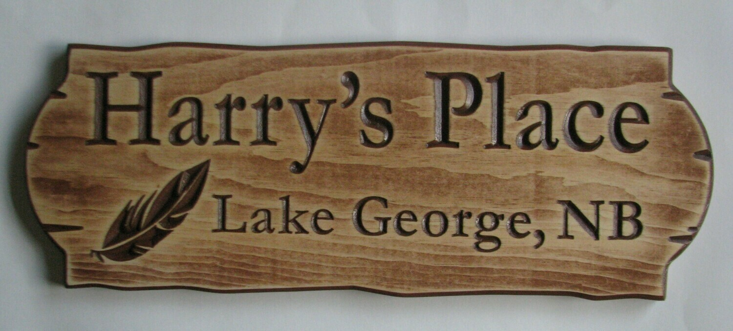 Personalized Rustic Stained Distressed Look Outdoor Wood Sign with Carved Feather