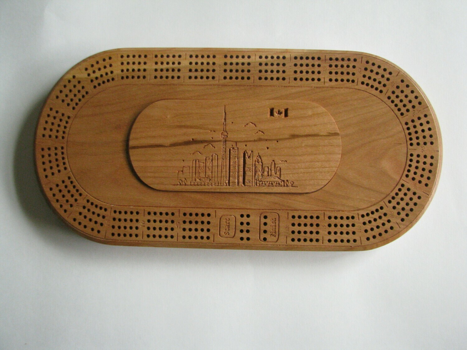 Oval Cherry Wood 4 Track Cribbage Board with Toronto Skyline