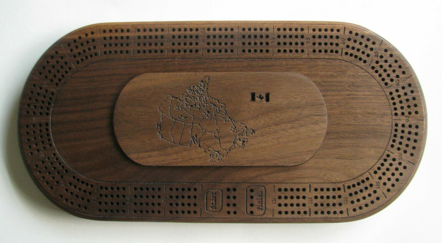 Walnut Wood Oval 4 Track Cribbage Board with Map of Canada