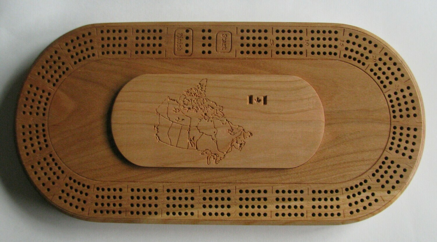 Cherry Wood Oval 4 Track Cribbage Board with Map of Canada