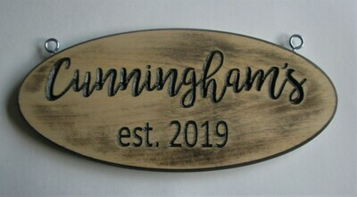 Custom Personalized Wood Family Name Sign Rustic Distressed Look Established Sign House Sign Cottage Sign