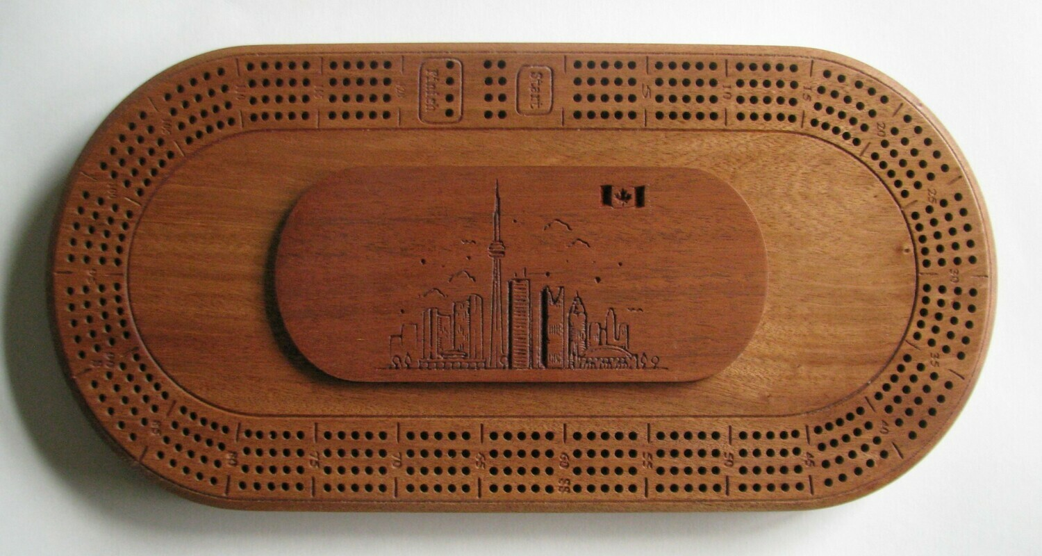 Oval African Mahogany (Sapele)  Wood 4 Track Cribbage Board with Toronto Skyline