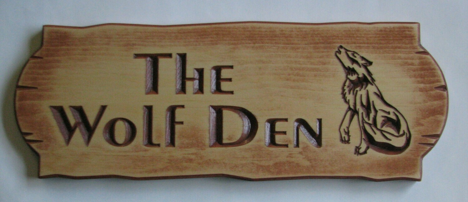 Personalized Rustic Stained Distressed Look Outdoor Wood Sign with Carved Wolf