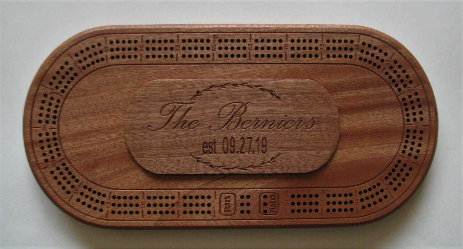 Oval African Mahogany Sapele Personalized Wood Cribbage Board
