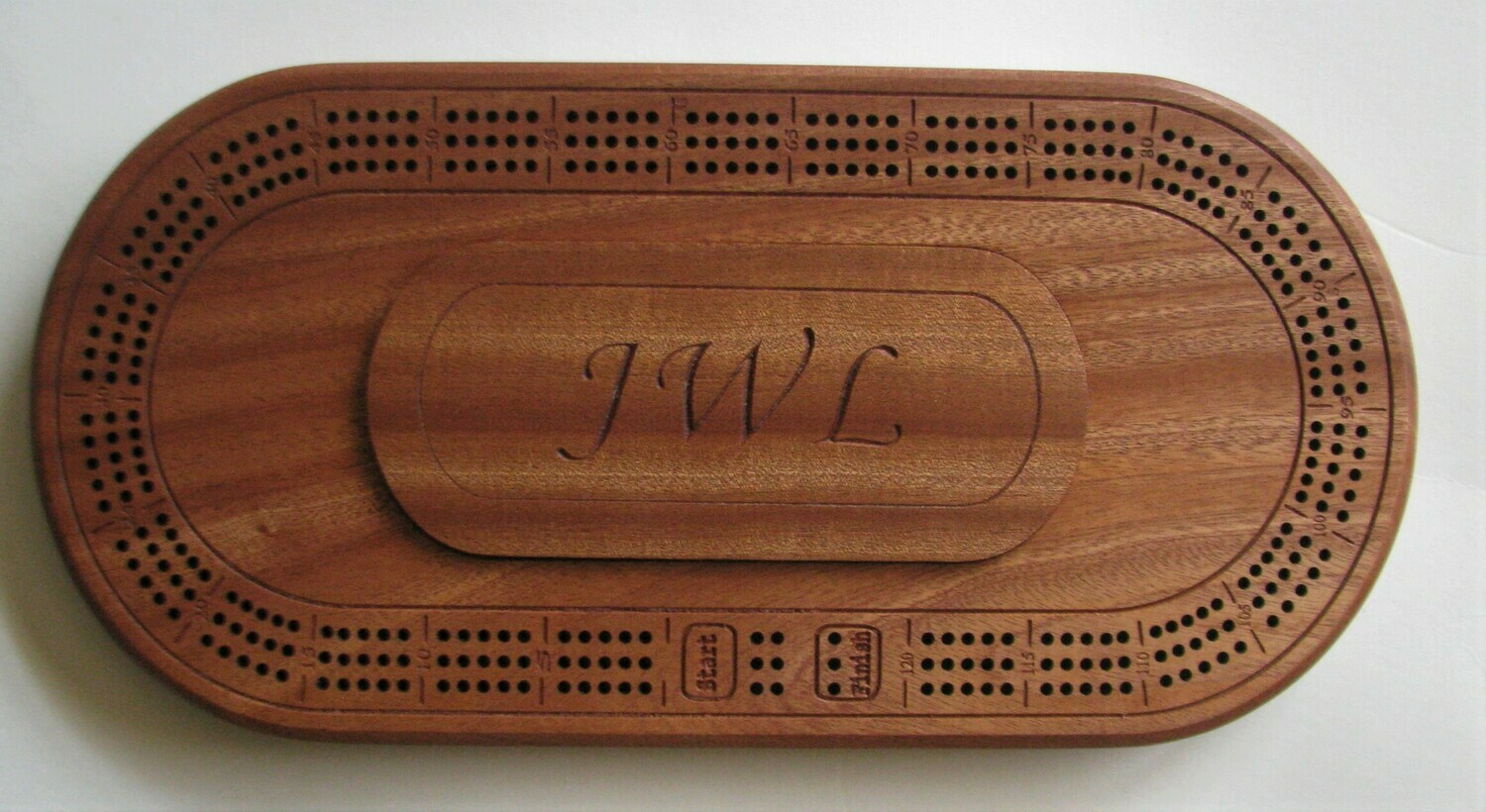 Personalized Oval Sapele African Mahogany Wood 3 Track Cribbage Board
