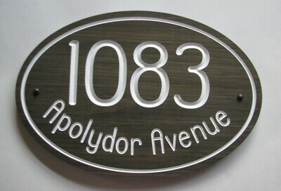 Oval House Number & Address Sign - Stained Wooden Address Sign - House Number Address Plaque