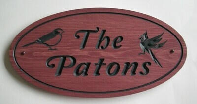 Custom Oval Family Name Sign with Carved Birds