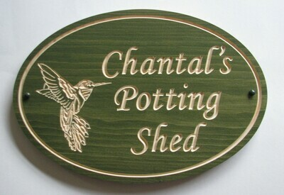 Custom Carved Stained Outdoor Wood Sign with Carved Hummingbird