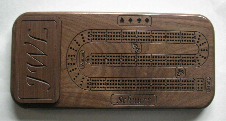 Personalized Walnut Wood Cribbage Board