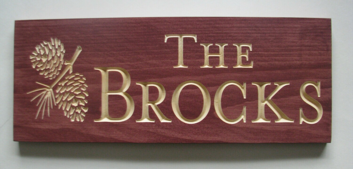 Custom Carved Stained Outdoor Wood Family Name Sign with Carved Pine Cone