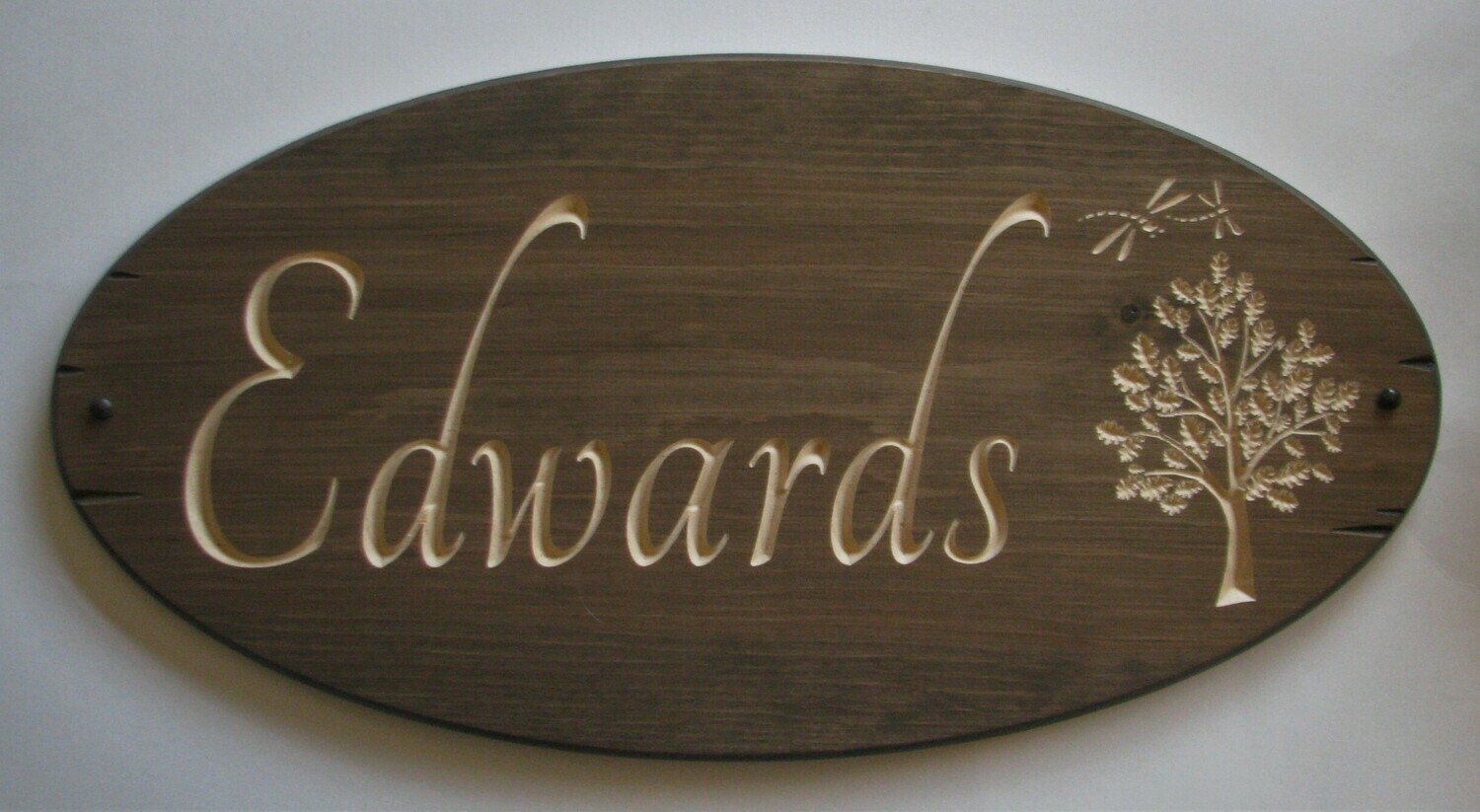Stained Oval Wood Sign Rustic Family Name Sign with carved Oak Tree and Dragonflies