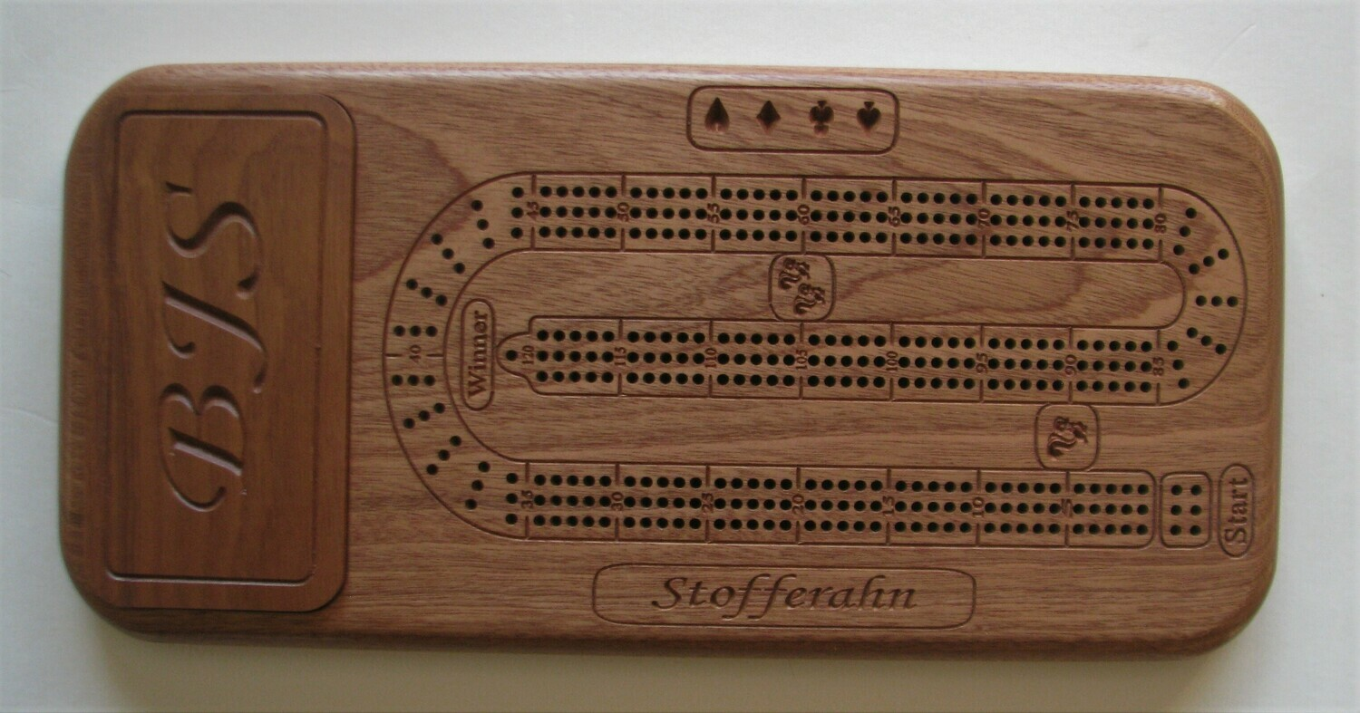 Personalized African Mahogany/Sapele Wood Cribbage Board