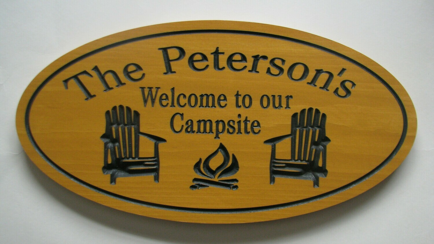 Custom Oval Family Name Sign Camp Sign with Chairs and Fire