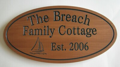 Custom Oval Family Name Sign Cottage Sign with Sailboat