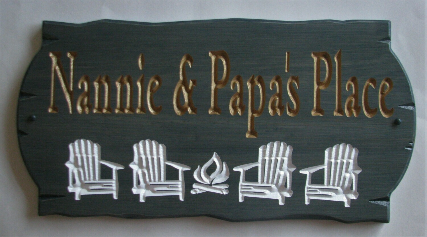 Custom Stained Wood Carved Camp Cottage Sign