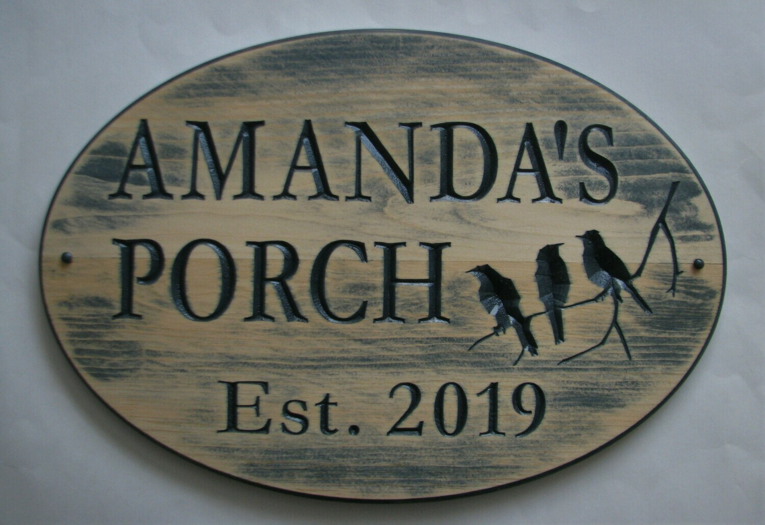 Large Rustic Oval Stained Aged Look Wood Camp Sign Cottage Sign with Carved Birds