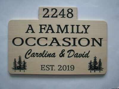 Large Carved Wood Camp Sign Cottage Sign with Carved Trees