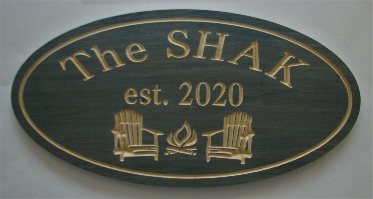 Personalized Oval Carved Stained Family Name Sign Cottage Sign with Carved Chairs/Firepit