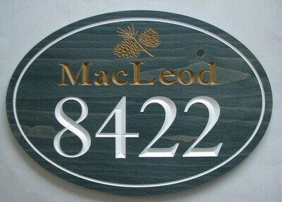 Large Oval Family Name House Number Sign