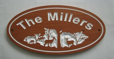 Custom Oval Family Name Sign Wood House Sign Cottage Sign Camp Sign with Carved Forest Scene