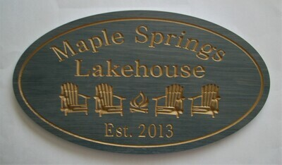 Custom Oval Family Name Sign Wood House Sign Cottage Sign Camp Sign with 4 Chairs & Firepit