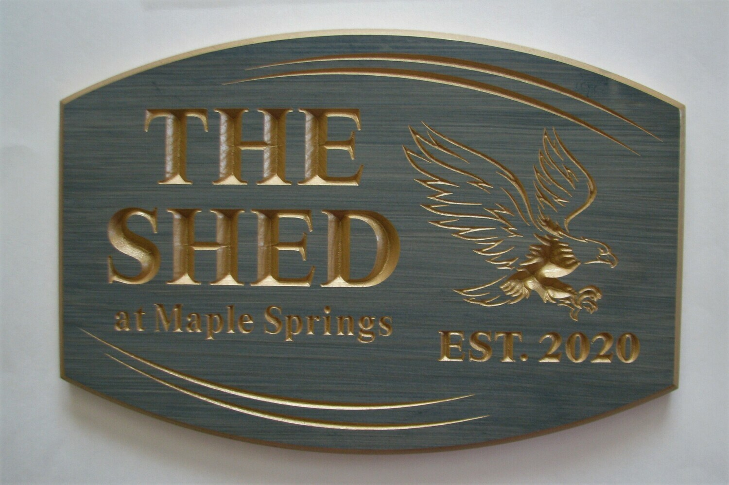 Personalized Shed Sign Cottage Sign with Carved Eagle