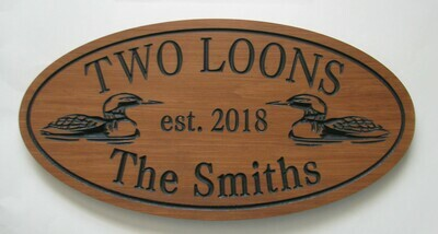 Custom Oval Family Name Sign Cottage Sign with Carved Loons