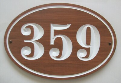Stained Oval House Number Sign
