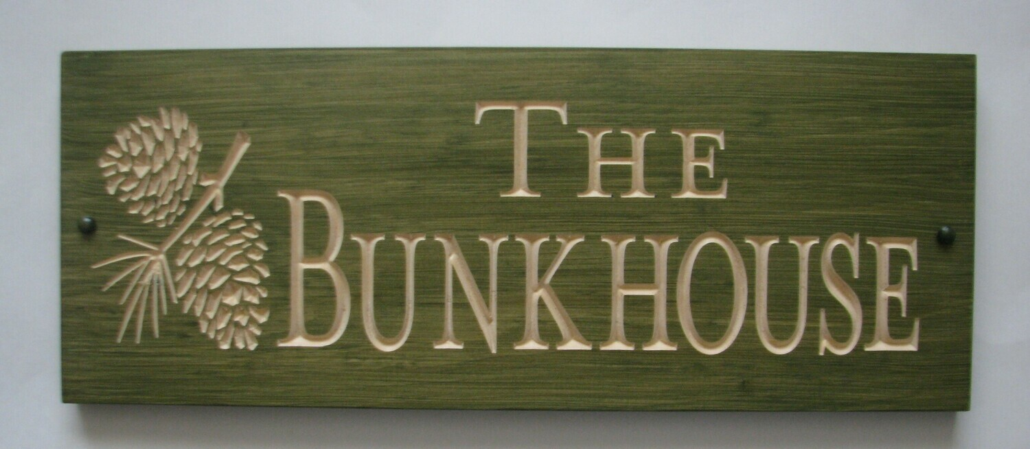 Custom Carved Stained Outdoor Wood Family Name Sign Bunkhouse Sign with Carved Pine Cone