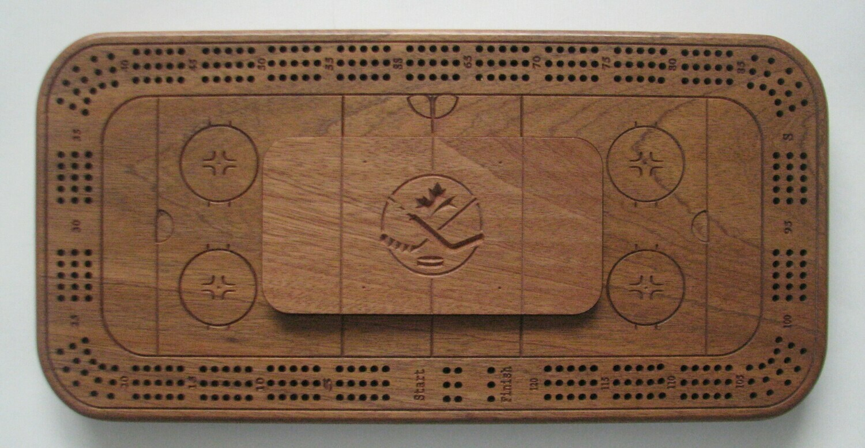 Hockey Theme African Mahogany/Sapele Wood Cribbage Board Hockey Rink Crib Board