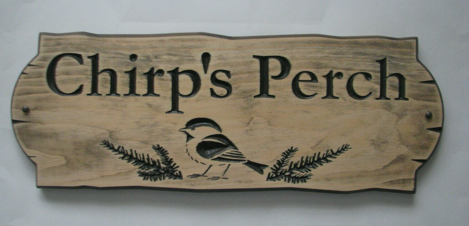 Personalized Rustic Stained Distressed Look Outdoor Wood Sign with Carved Chickadee