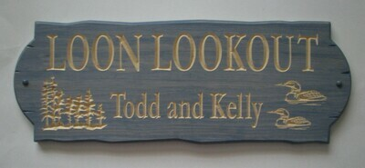 Personalized Rustic Stained Outdoor Wood Sign with Carved Trees and Loons