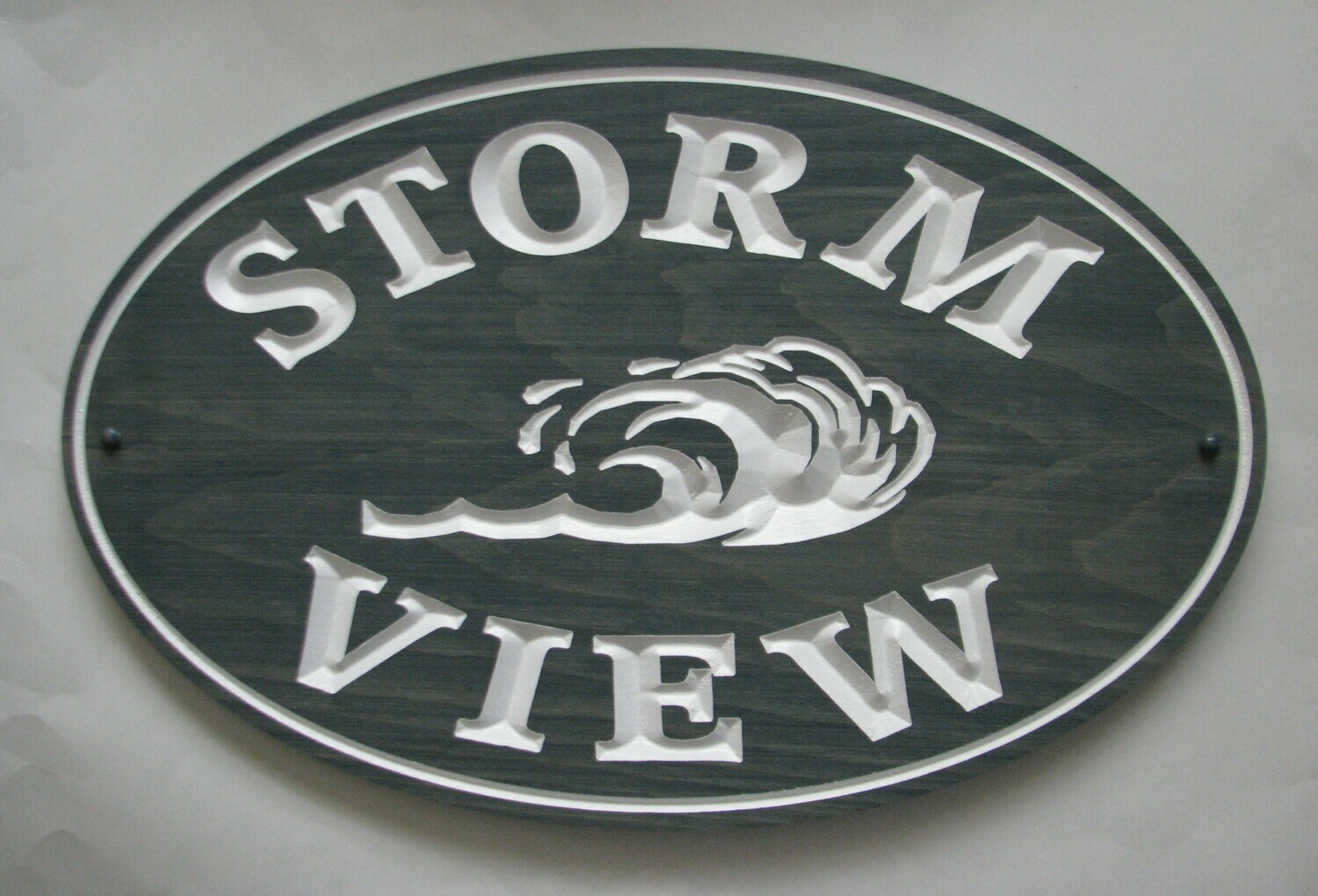 Large Rustic Stained Wood Sign Cottage Sign with Wave