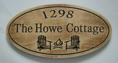 Custom Rustic Oval Aged Look Family Name Sign Cottage Sign with Carved Chairs & Firepit