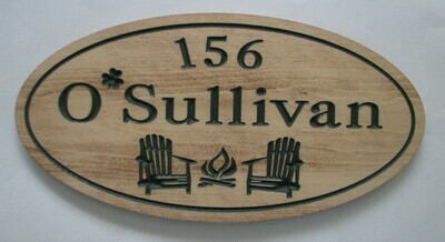Custom Rustic Oval Aged Look Outdoor Sign with Painted Carving