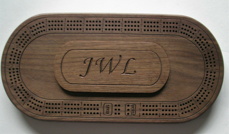 Personalized Oval Walnut Wood 3 Track Cribbage Board