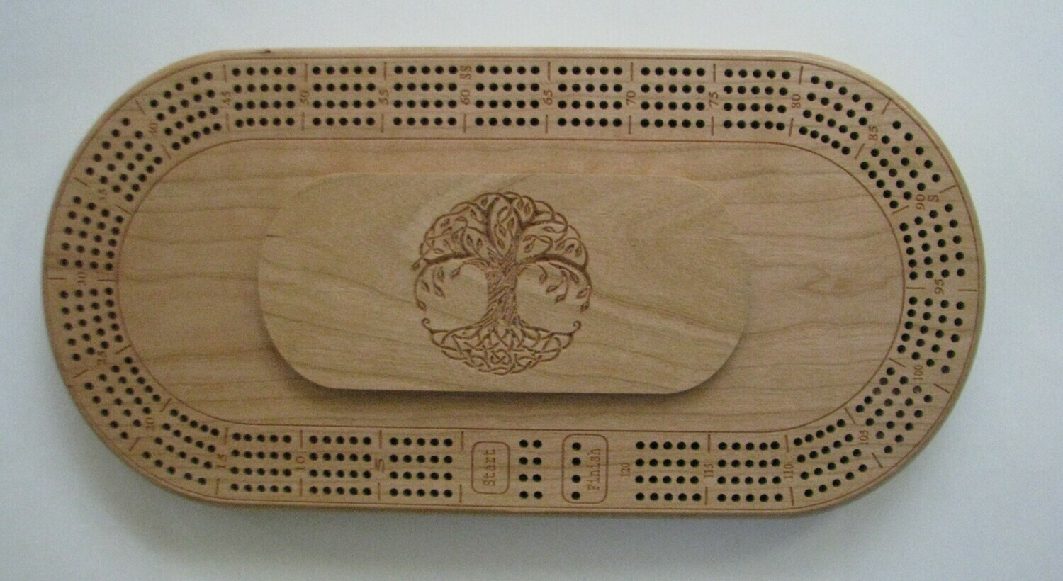 Oval Cherry Wood 4 Track Cribbage Board with Carved Tree of Life