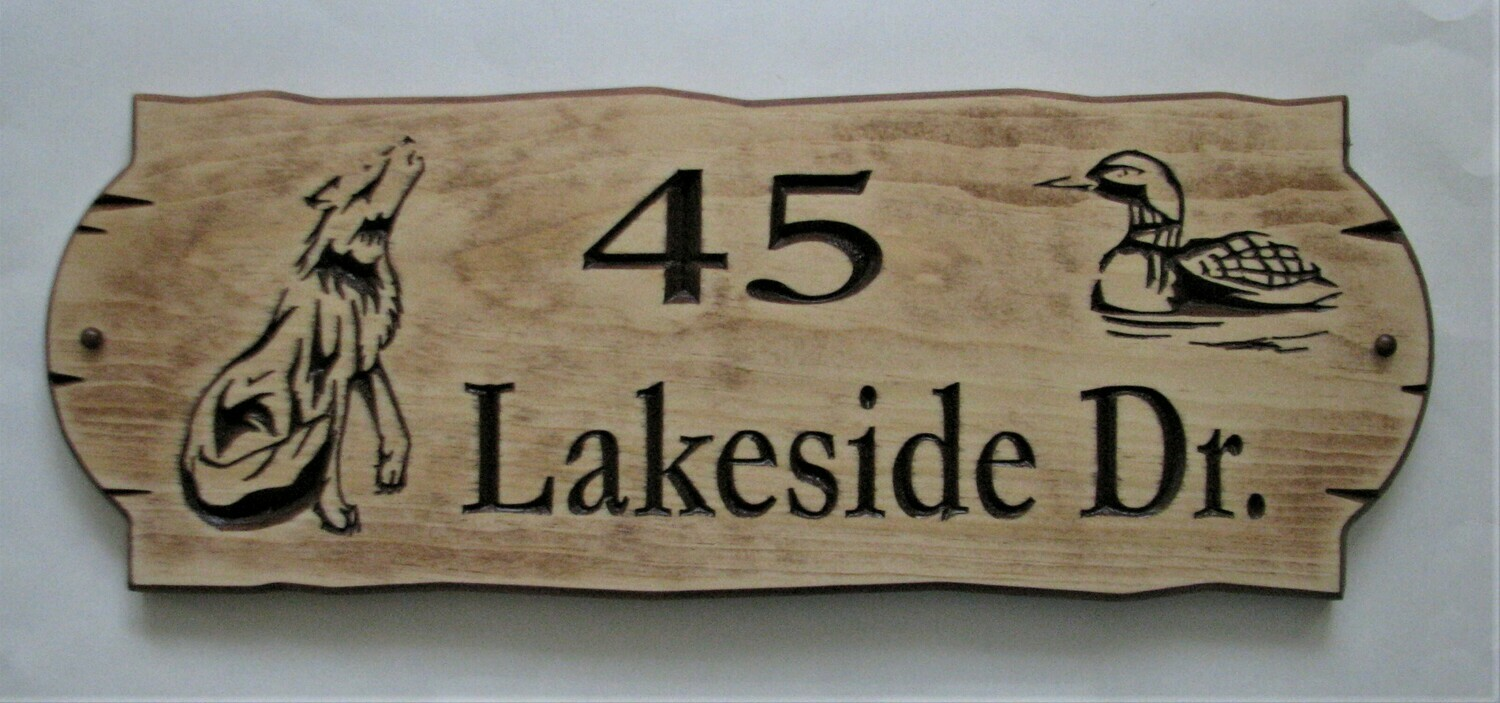 Personalized Rustic Stained Distressed Look Outdoor Wood Sign with Carved Wolf and Loon