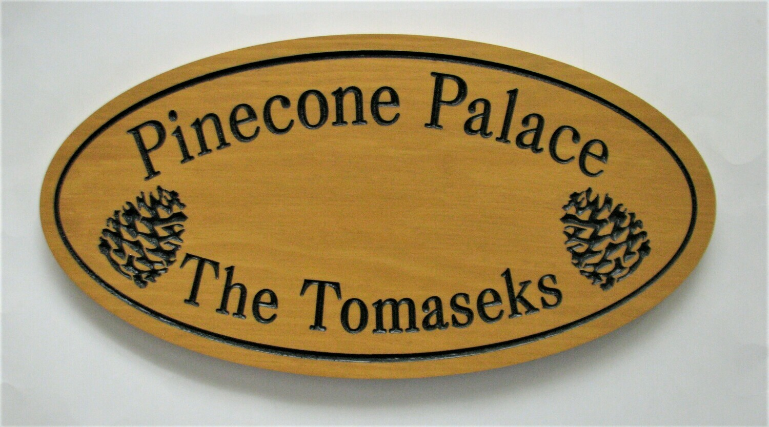 Custom Oval Family Name Sign Cottage Sign with Carved Pinecones