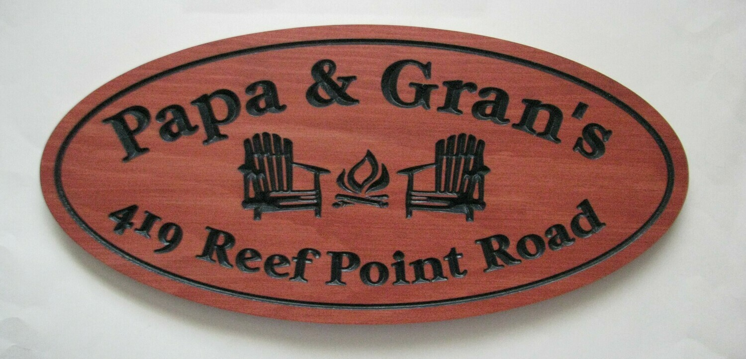 Custom Stained Oval Wood Carved Camp Cottage Sign