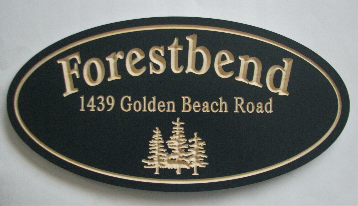 Custom Carved Pine Cottage Sign with Carved Trees