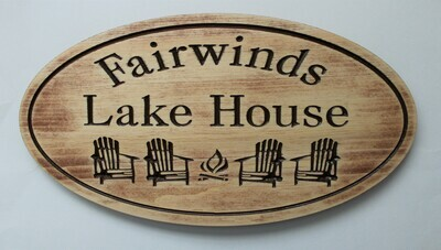 Custom Rustic Oval Aged Look Family Name Sign Cottage Sign with 4 Carved Chairs & Firepit